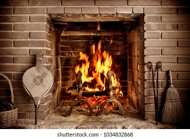 old country house fireplace