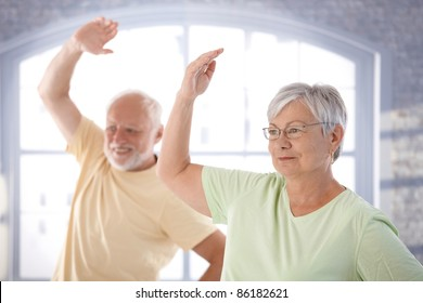 Old couple doing exercises in the gym.?