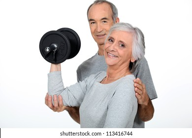 old couple doing fitness