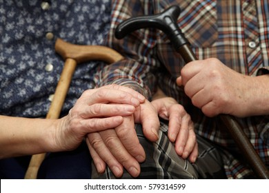 Old couple hands with cane. Senior people health care