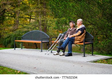 old couple in the park sitting on a bench
