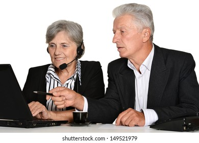 old couple in the workplace on a white background