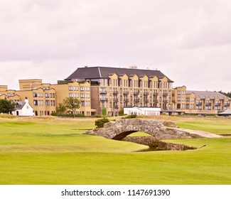 The Old Course Hotel, Golf resort and spa. Luxury 5 star hotel, overlooking the famous championship Old Course. St Andrews, Fife. Scotland uK. July 2018