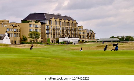 The Old Course Spa and Golf Resort Hotel overlooking the Old Course in St Andrews, famous tourist attraction and Championship golf course. St Andrews, Fife, Scotland. August 2018