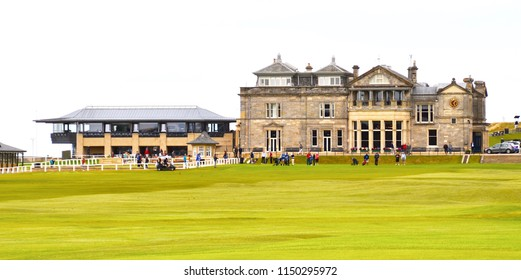 The Old Course, St Andrews famous championship golf course and golf museum. St Andrews Fife, Scotland UK. August  2018