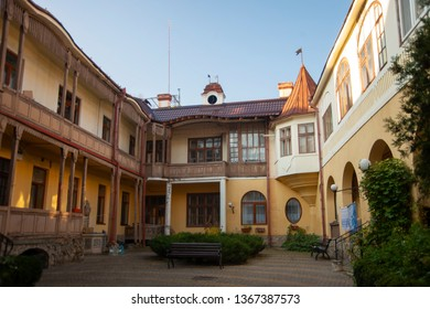 Old courtyard in the center of a small Ukrainian city. Chernivtsi.
