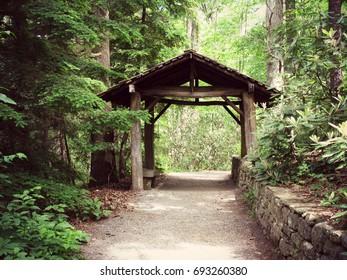 Old Covered Bridge in the Botanical Gardens Asheville