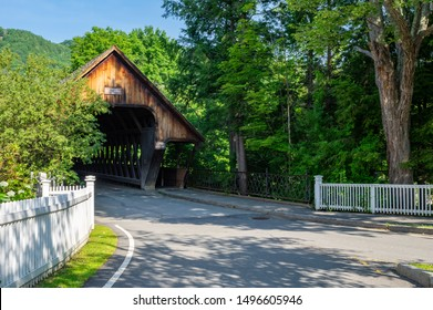 The old covered bridge in Woodstock, Vermont.