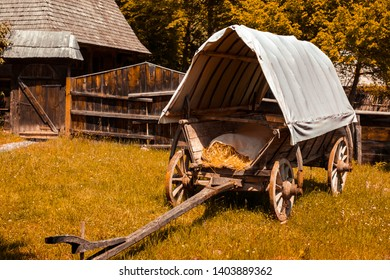 old covered wagon in Astra Museum of Traditional Folk Civilization, Sibiu city, Romania