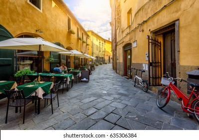 Old cozy street in Lucca, Italy. Lucca is a city and comune in Tuscany. It is the capital of the Province of Lucca