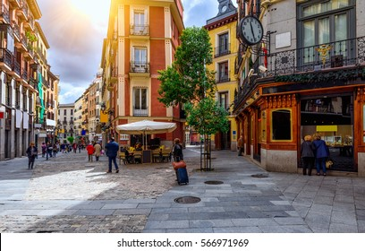 Old cozy street in Madrid, Spain. Architecture and landmark of Madrid, postcard of Madrid