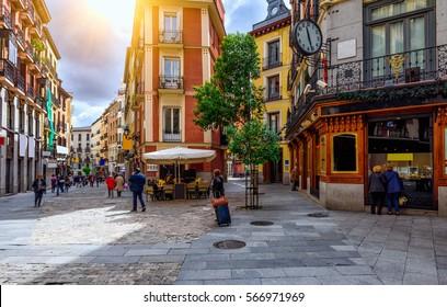 Old cozy street in Madrid, Spain. Architecture and landmark of Madrid, postcard of Madrid