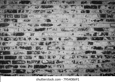 Old Cracked Brick Wall in Black and White Texture Background Grunge Pattern Wallpaper