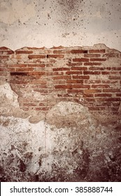 old cracked brick wall texture background. Vintage effect.