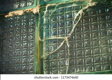 old cracked glass square