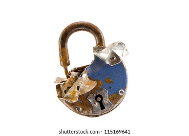 old cracked metal lock isolated on white background