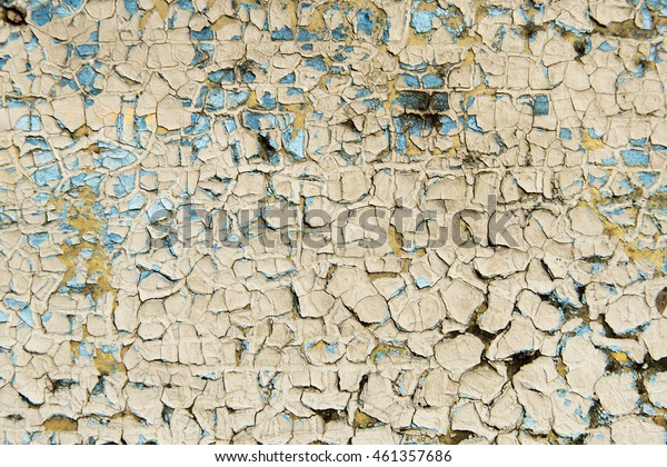 old cracked paint on wooden surface, yellow color