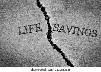 Old cracked sidewalk broken and dangerous cement Life Savings poor poverty