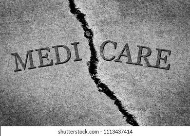 Old cracked sidewalk broken and dangerous cement Medicare program crisis failure