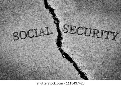 Old cracked sidewalk broken and dangerous cement Social Security savings depleted crisis