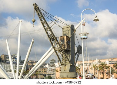 old crane at the ancient port of Genoa