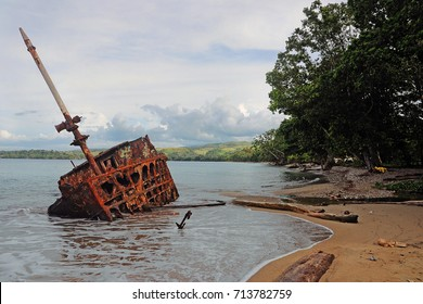 Old crashed ship on Solomon Islands from times of Second World War