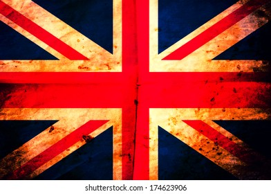 Old creased paper British flag as the background
