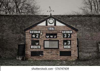 Old Cricket scoreboard building in Enville, South Staffordshire, England.