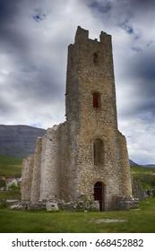 Old croatian catholic church Svetog Spasa in Cetina village