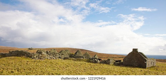 An old crofting hamlet in ruins in a remote part of Bressay, Shetland, Scotland, UK.