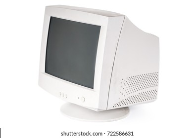 Old CRT monitor on white background