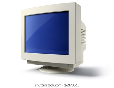 Old CRT monitor over white background