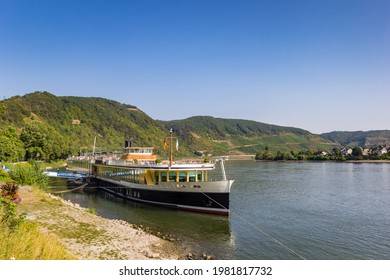 Old cruiseship at the Rhine riverbank in Boppard, Germany