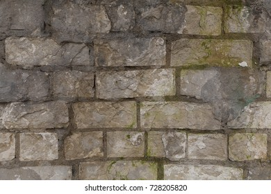 Old crumbling rough brick wall texture