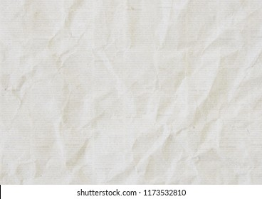 Old crumpled grunge recycled newspaper paper texture background. Blurred vintage newspaper horizontal background. Crumpled paper textured page. Gray and white news collage.