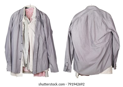 Old crumpled men's mass production shirts hanging on a hanger. View from both sides. Isolated on white studio set