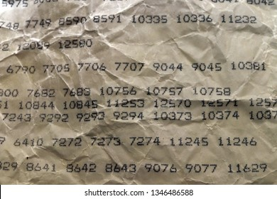 Old crumpled paper sheet with printed programming language Assembler codes and commands
