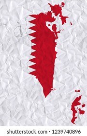 Old crumpled paper with watercolor painting of Bahrain flag and map