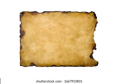 old crushed vintage retro paper sheet  with the burned edges isolated on white background. Old photo texture with stains and scratches. Antique textured art concept.