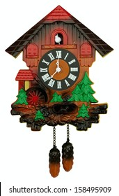 Old cuckoo clock isolated on white. Clipping path included.