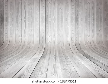 Old curved wooden background Grungy old curved wooden interior, white