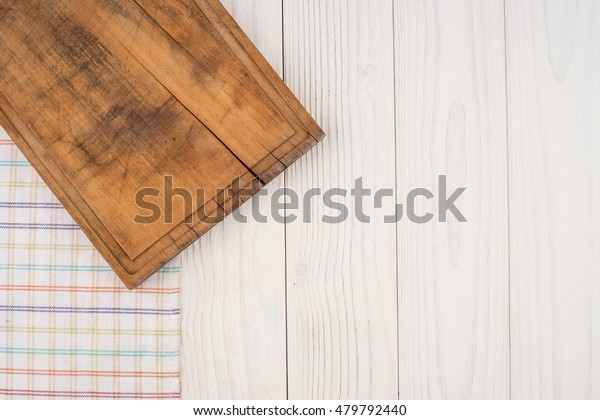 Old Cutting Board Kitchen Napkin On Stock Photo (Edit Now