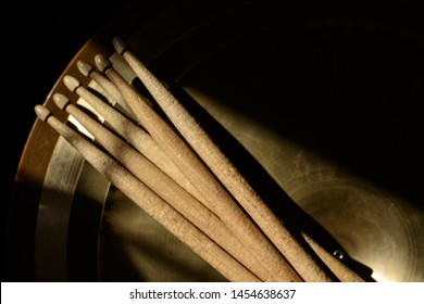 Old Cymbals and drumsticks. Drum Set. Cymbals close up