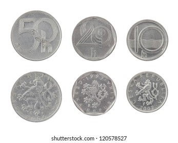 Old Czech heller coins isolated on white
