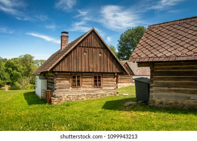 Old Czech Village with rural architecture - Vysoky Chlumec is a village in the Central Bohemian Region. Czech rural architecture.