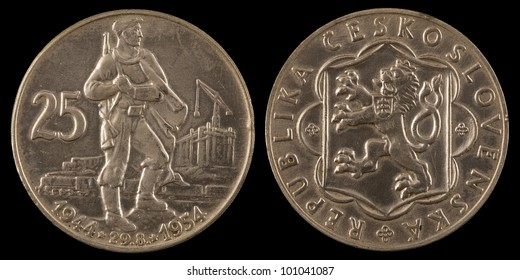 The old czechoslovakia coin on the black background