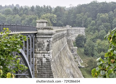 An old dam with an attached bridge