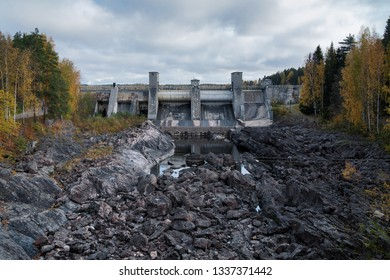 Old dam and spillway of the hydroelectric power station in Imatra (Imatrankoski), Finland