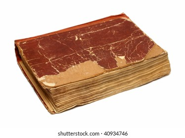 old damaged battered book on white background