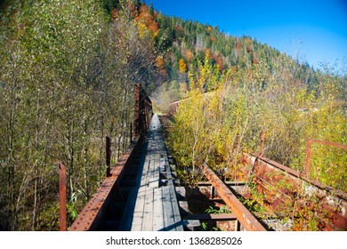 Old damaged bridge in the mountains. A lot of autumn trees.